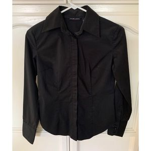 Black Long Sleeve Button Down Stretch Shirt